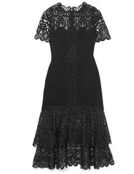 Crepe And Guipure Lace Midi Dress by Jonathan Simkhai