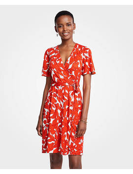 Petite Iris Flutter Sleeve Wrap Dress by Ann Taylor