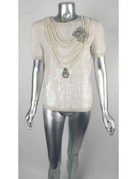 Rare 100 Percents Auth Vintage Bill Blass Sequin, Pearl & Jewel Evening Top Blouse Sz 6 by Bill Blass