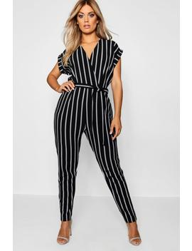 Plus Pinstripe Tailored Jumpsuit by Boohoo
