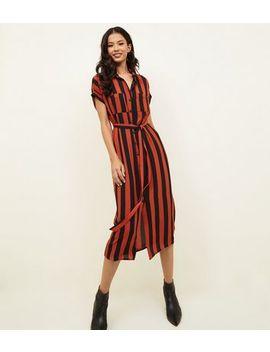 Orange Vertical Stripe Midi Shirt Dress by New Look