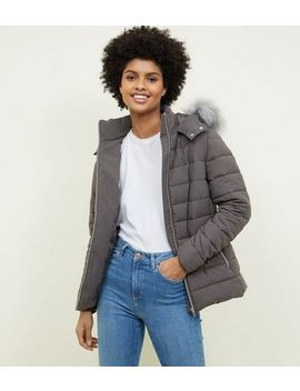 Dark Grey Hooded Puffer Jacket by New Look