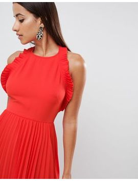 Asos Design Pleated Midi Dress With Ruffle Open Back by Asos Design
