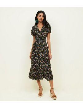 Black Bright Floral Button Through Midi Tea Dress by New Look