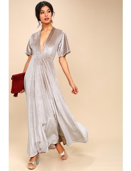 Temptress Taupe Velvet Maxi Dress by Lulu's