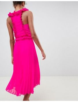 Asos Design Midi Dress With Pleated Ruffle by Asos Design