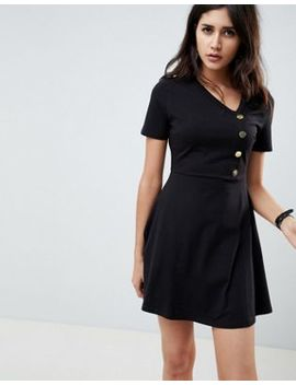 Asos Design Mini Skater Dress With Button Front by Asos Design