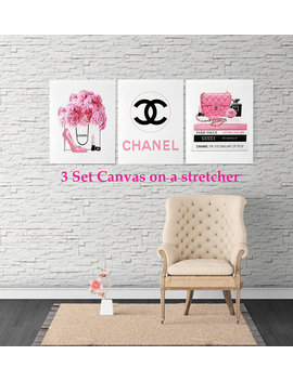 Canvas Wall Art 3 Set Fashion Illustration Canvas Chanel Bag Canvas Chanel Parfum Fashion Fashion Prints Fashion Wall Art Gallery Wrapped by Etsy