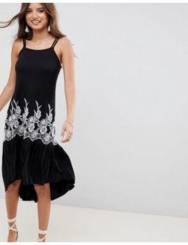 Asos Design Embroidered Drop Hem Midi Sundress by Asos Design