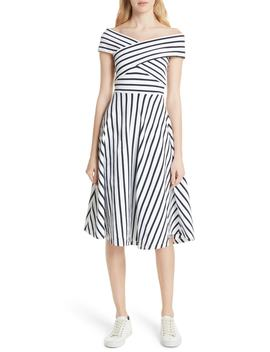 Rivera Off The Shoulder Stripe Stretch Knit Dress by Milly