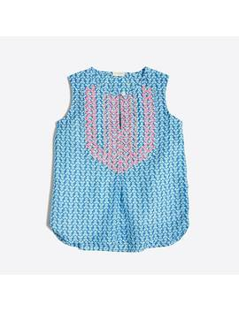 Girls' Printed Embroidered Top by J.Crew
