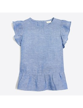 Girls' Linen Cotton Flutter Sleeve Top by J.Crew