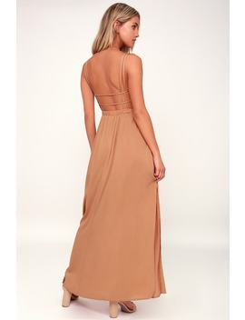 Lost In Paradise Light Brown Maxi Dress by Lulu's