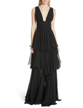 Paros Tiered Silk Gown by Caroline Constas