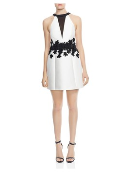 Floral Embroidered A Line Mini Dress by Halston Heritage