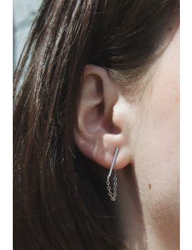 Silver Bar And Chain Stud Earrings by Brandy Melville