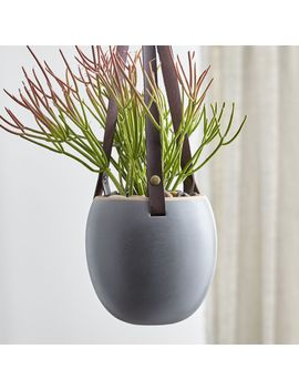 Grey Planter With Leather Hanger by Crate&Barrel