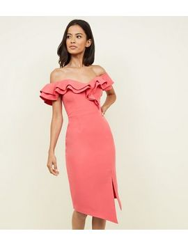 Coral Frill Trim Sweetheart Neck Bodycon Dress by New Look