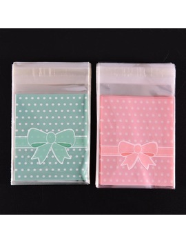 100 Pcs Gift Sealing Opp Plastic Lovely Pink Blue Bow Adhesive Cake Gift Packages Cookie Candy Pack Paper Bags by Gcd Home