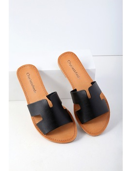 Ronnie Black Slide Sandals by Lulu's