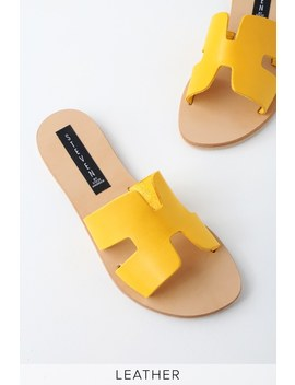 Greece Yellow Leather Slide Sandals by Lulu's