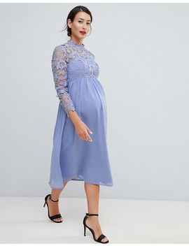 Chi Chi London Maternity High Neck Midi Skater Dress With Lace Sleeves by Chi Chi London