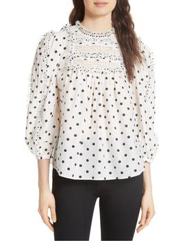 Bailey Polka Dot Lace Yoke Blouse by Ulla Johnson