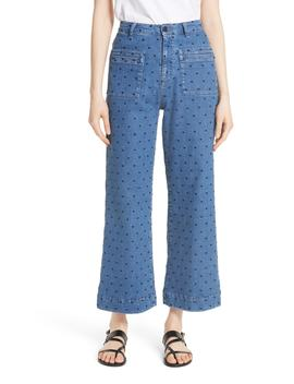 Niko Polka Dot Crop Flare Jeans by Ulla Johnson