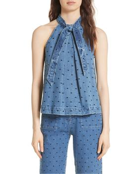 Mako Embroidered Denim Top by Ulla Johnson