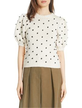 Bettine Puff Sleeve Polka Dot Sweater by Ulla Johnson