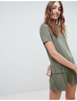 Asos Design Mini T Shirt Dress With Drop Ruffle Hem by Asos Design