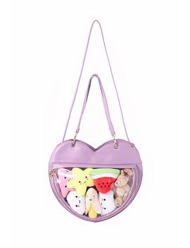 Clear Candy Leather Handbag Kawaii Purse Transparent Backpacks Love Heart Shape Crossbody Bags Lolita Ita Bag by Faerie