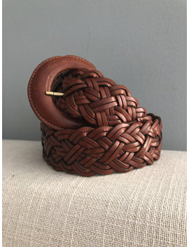 Vintage Turkish Braided Pversized Leather Belt by Etsy
