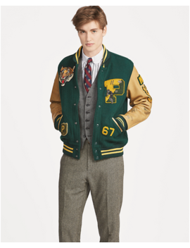 Wool Blend Letterman Jacket by Ralph Lauren