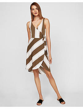 Striped Surplice Wrap Midi Dress by Express