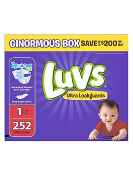 Luvs Ultra Leakguards Disposable Diapers Newborn Size 1, 252 Count, One Month Supply by Luvs
