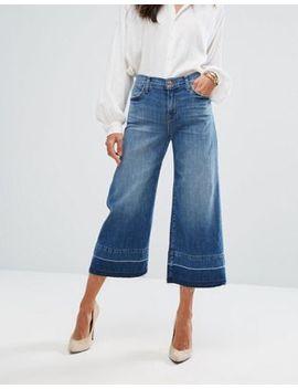J Brand Mid Rise Wide Leg Crop With Raw Hem by J Brand