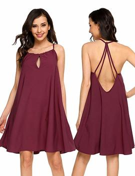 Elesol Women Sexy Backless Spaghetti Strap Sundress Summer Beach Slip Dresses by Elesol