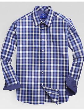 Egara Navy & Blue Check Sport Shirt by Mens Wearhouse