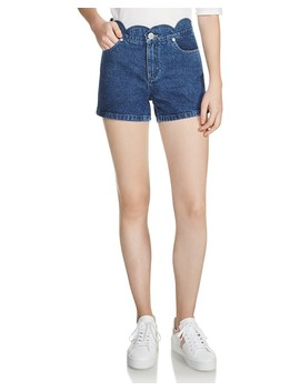 Shafti Scalloped Denim Mini Shorts by Maje