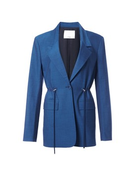 Tropical Wool Oversized Drawstring Blazer by Tibi