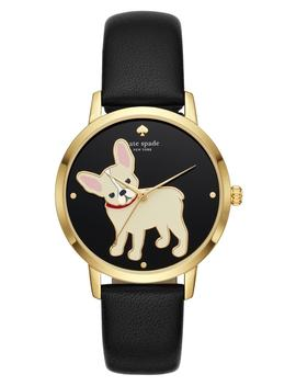 Grand Metro Bulldog Leather Strap Watch, 38mm by Kate Spade New York