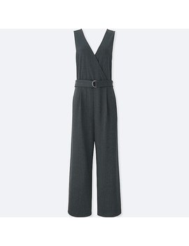 Women Ponte Sleeveless Wrap Jumpsuit by Uniqlo