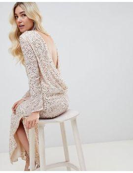 Asos Design All Over Sequin Cowl Back Maxi Dress by Asos Design