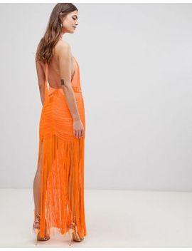 Asos Design Dropped Waist Fringe Maxi Dress by Asos Design
