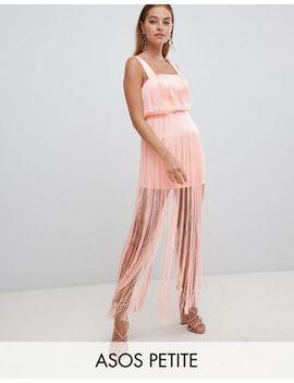 Asos Design Petite Fringe Square Neck Scuba Mini Dress by Asos Design