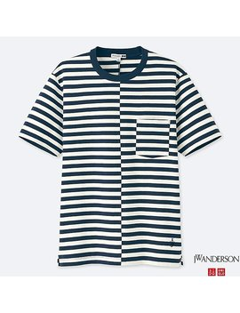 Men J.W.Anderson 100 Percents Cotton Striped Short Sleeve T Shirt by Uniqlo