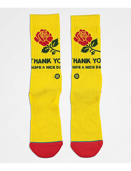 Stance X Chinatown Market Thanks Rose Yellow &Amp; Red Crew Socks by Stance