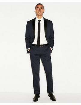 Slim Navy Cotton Sateen Pant by Express
