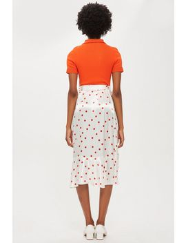 Satin Spot Ruffle Midi Skirt by Topshop